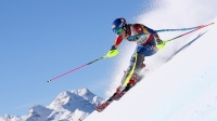ST MORITZ, SWITZERLAND - FEBRUARY 18: Mikaela Shiffrin of The United States competes in the first run of the Women's Slalom during the FIS Alpine World Ski Championships on February 18, 2017 in St Moritz, Switzerland.