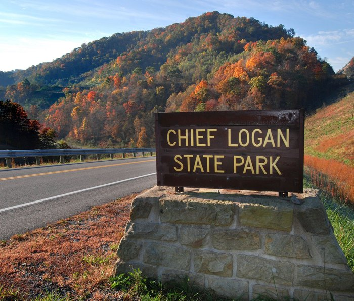 Sign of Chief Logan State Park in West Virginia