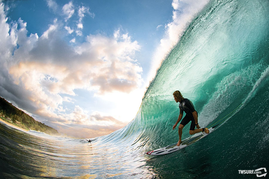 Mark Healey, Backdoor Pipeline, Hawaii. April issue, 2009. Photo: Pat Stacy