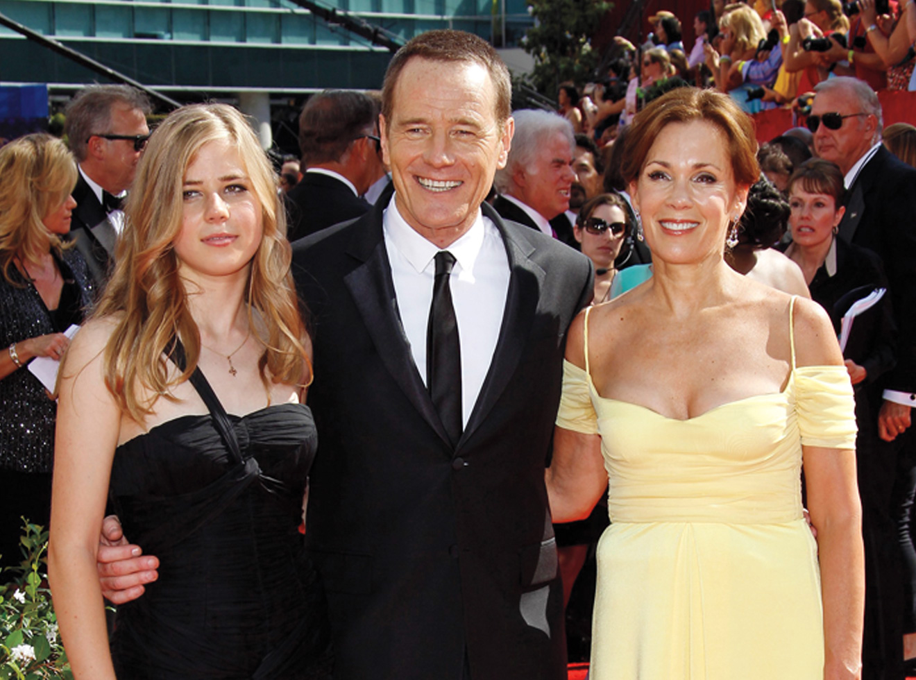 Bryan Cranston with his daughter and wife at the 2010 Emmys, where he won his third consecutive award.