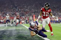 Danny Amendola #80 of the New England Patriots catches a six yard touchdown in the fourth quarter against Jalen Collins #32 of the Atlanta Falcons in the fourth quarter during Super Bowl 51 at NRG Stadium on February 5, 2017 in Houston, Texas. (Photo by Ronald Martinez/Getty Images)
