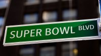 A sign is seen on Super Bowl Boulevard on January 30, 2014 in New York City. (Photo by Alex Trautwig/Getty Images)