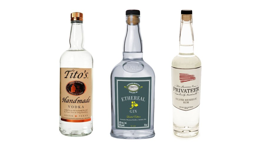 Tito's Handmade Vodka, Berkshire Mountain Ethereal Gin, Privateer Silver Reserve Rum; the best clear spirits