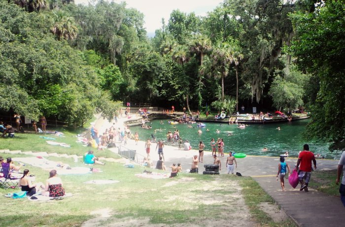 The clear, turquoise water of Wekiwa springs is refreshing after a humid kayak trip. Photo by Johnie Gall