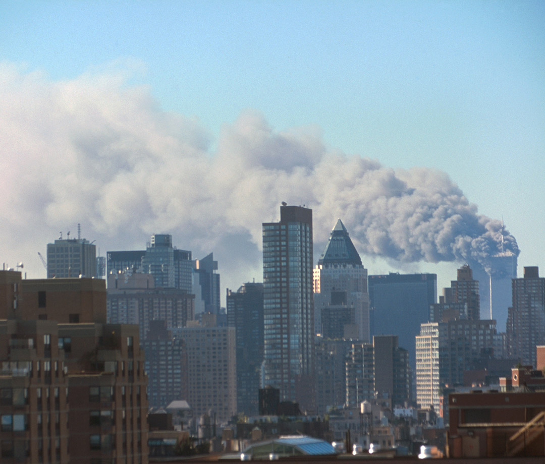Smoke billowing from the Twin Towers in a photo taken from Midtown