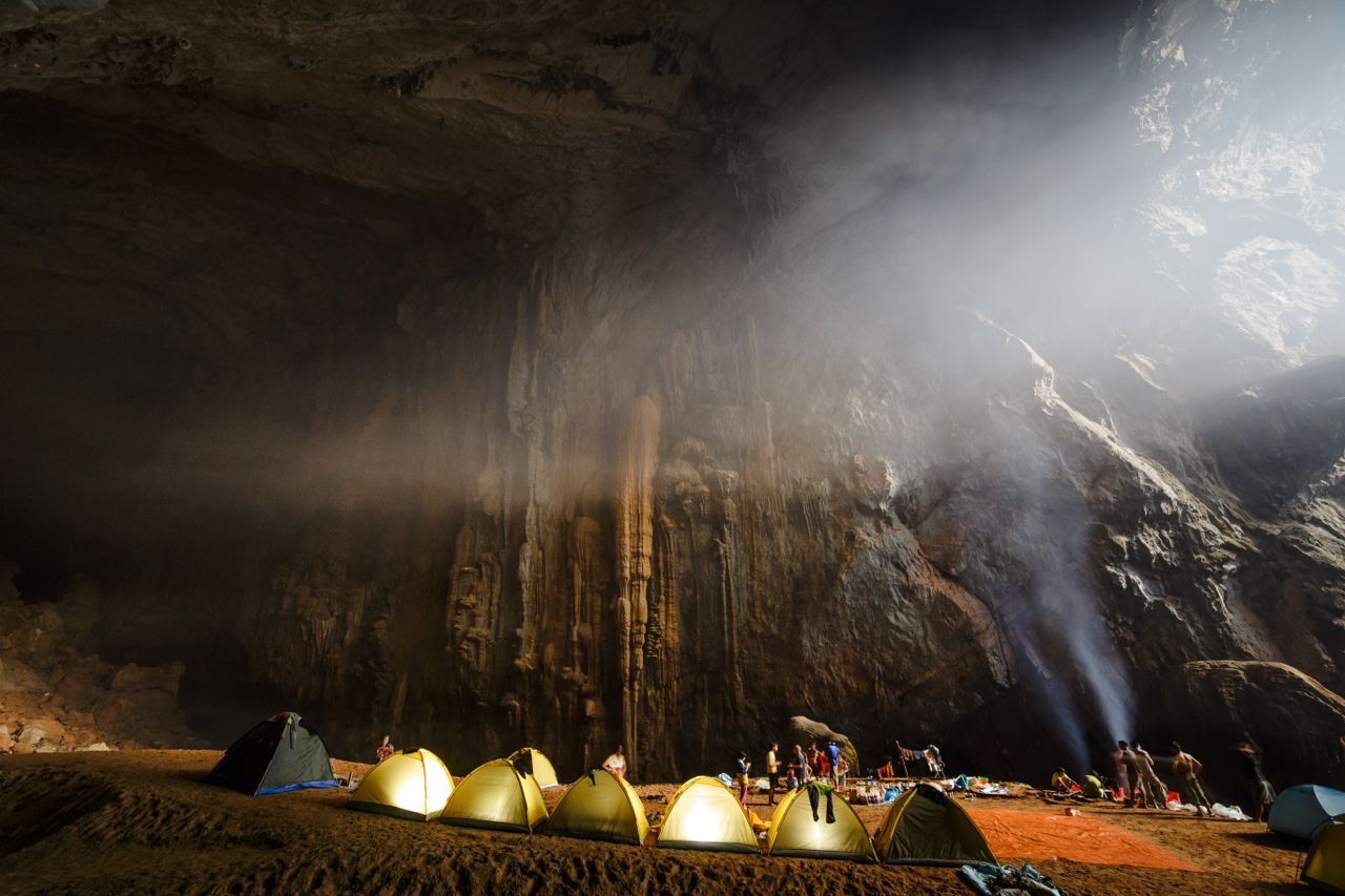 Light filters into the spelunking cave above the cave campsite in Vietnam.  Photo by Ryan DeBoodt