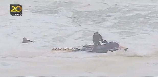 One of two failed rescue attempts at Nazare; photo is a screen grab from YouTube video