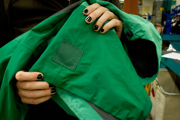 Some patched handiwork from the specialists at Rainy Pass Repair. Gore-Tex also makes adhesive patches that can be applied at home; photo by Kade Krichko