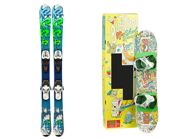 Getting your kids snowboarding and skiing: Package-deal skis and snowboards are a good deal for parents with growing kids.