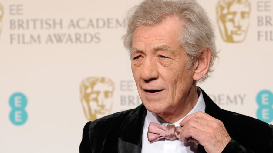 Ian McKellen poses in the press room at the EE British Academy Film Awards