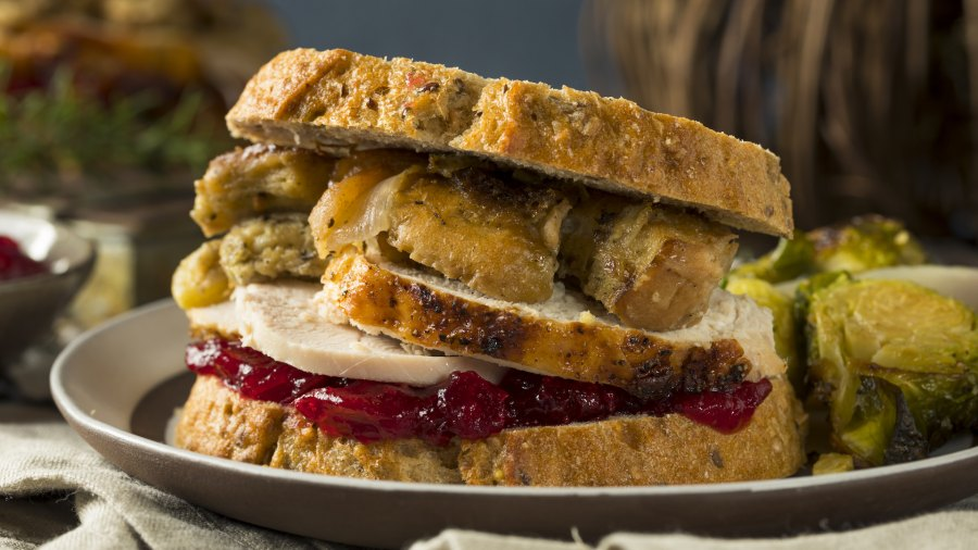 Homemade Thanksgiving leftover turkey sandwich.