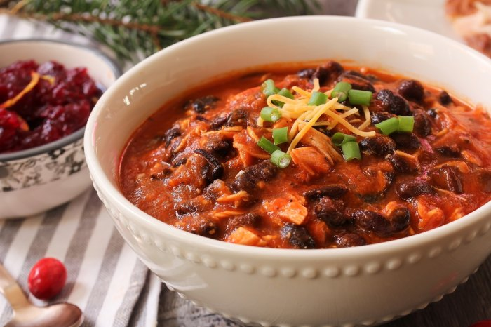 Homemade Turkey Chili with beans and scallions.