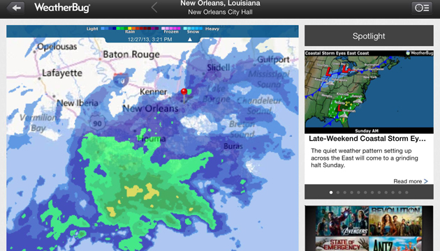 Apps to keep you kicking:  use WeatherBug's live storm radar to keep safely clear of nasty cells.