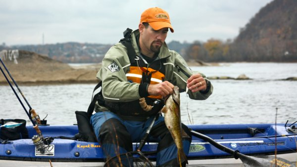 Finding river smallies in winter requires covering a lot of water, but not always from the kayak.