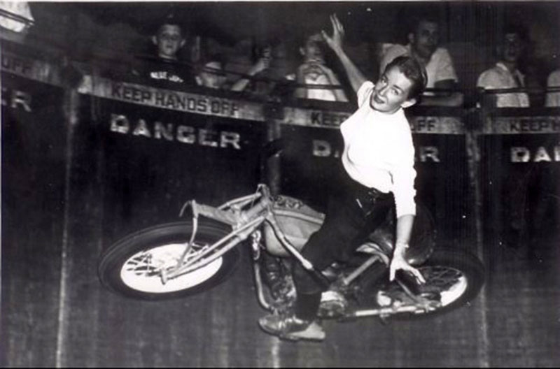 Women on motorcycles: Cookie Crum and her bike; photo courtesy of Cookie Crum