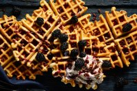 Waffles with blackberries