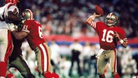 Quarterback Joe Montana #16 of the San Francisco 49ers throws a pass against the Cincinnati Bengals in Super Bowl XXIII at Joe Robbie Stadium on January 22, 1989 in Miami, Florida. The 49ers defeated the Bengals 20-16. (Photo by Rob Brown/Getty Images)