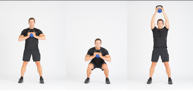 KettleWorX lead trainer Alex Isaly performing the squat with shoulder press. Photo courtesy of KettleWorx.