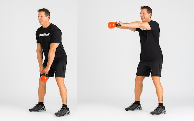 KettleWorX lead trainer Alex Isaly demonstrating the kettlebell swing. Photo courtesy of KettleWorX