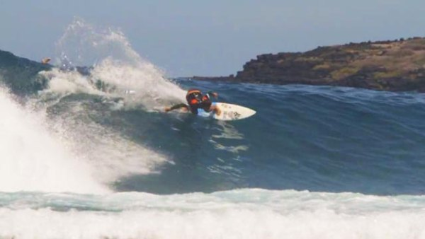 Reunion Island surfer Jorgann Couzinet at St. Leu, a world famous surf spot on Reunion; frame grab courtesy of Roundhouse Filming