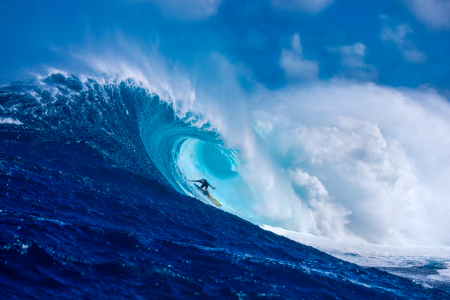 """Luckiest Man Alive: Shane Dorian, one of the planet's most talented big wave prone surfers, hooks into another """"accidental"""" Peahi barrel. Imagine what he might do if he got in earlier, already standing. Photo: Fred Pompermayer"""