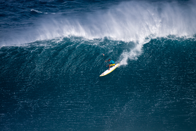Kai Lenny spent all of last season prone paddling into Jaws. The verdict? He prefers to stand. Photo: