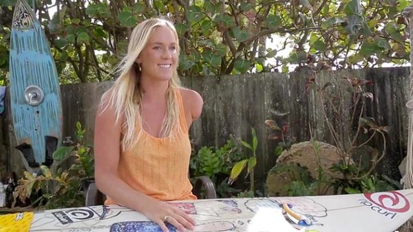 Bethany Hamilton explains how she surfs after losing her arm to a shark when she was 13; frame grab courtesy Aaron Lieber