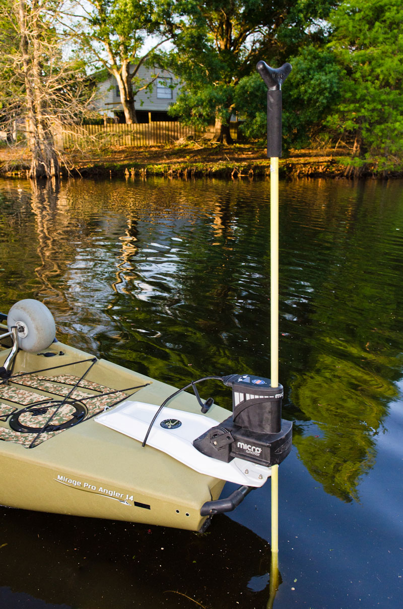 The Power Pole Micro Anchor installed on a Hobie Pro Angler.