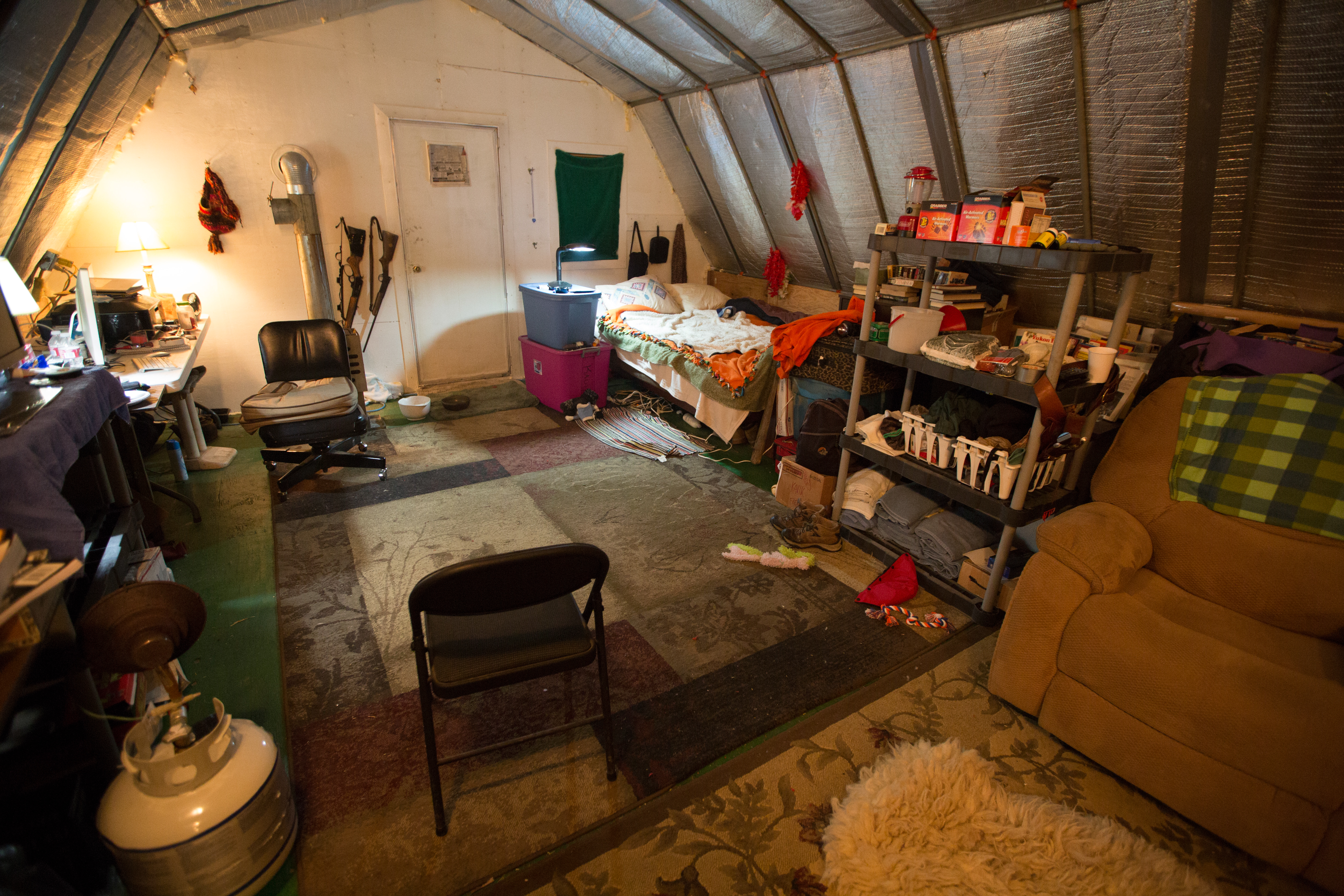 What the inside of Sue Aikens' Life Below Zero tent looks like; photo courtesy National Geographic Channel