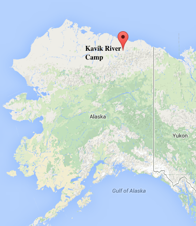 Approximately where Kavik River Camp is located; image courtesy Google Maps