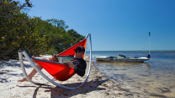 The Boonedox Drifter portable hammock stand takes comfort on the go.