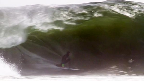 South African surfer Matt Bromley at Skeleton Bay in Namibia; frame grab from video