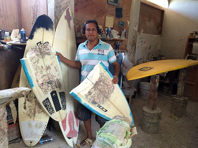 Miguel Ramirez is the man to see when you inevitably ding up your surfboard in Puerto Escondido; photo Justin Coté