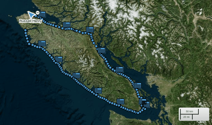 Russell Henry's position at 10 a.m. June 12th, 13 days into his bid to beat the Vancouver Island speed record.