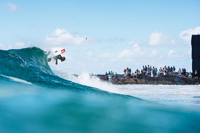 Fred Patacchia at Snapper Rocks on the Gold Coast of Australia—one of the best places to watch a pro surf contest. Photo by Corey Wilson/Surfing magazine