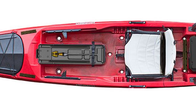 Prototype depicted: the Kraken cockpit, workspace for hardcore paddle-powered anglers.