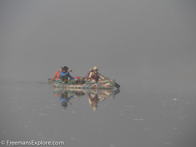 Eurico, Tonico, Norberto, and Hercilio paddling in the cool morning fog on the Rio Branco. Dawn was the best time to paddle because the fog protected us from the heat of the sun. Photo Dave Freeman