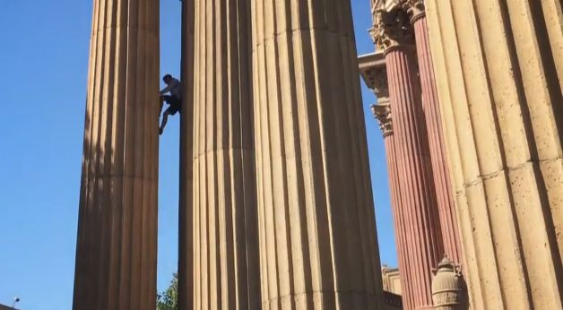 Alex Honnold climbing at the Palace of Fine Arts. Photo is a screen grab from the video