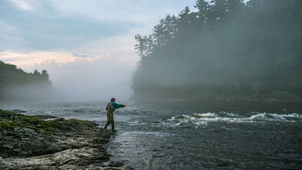 Fly-fishing on the Kennebec River in Maine