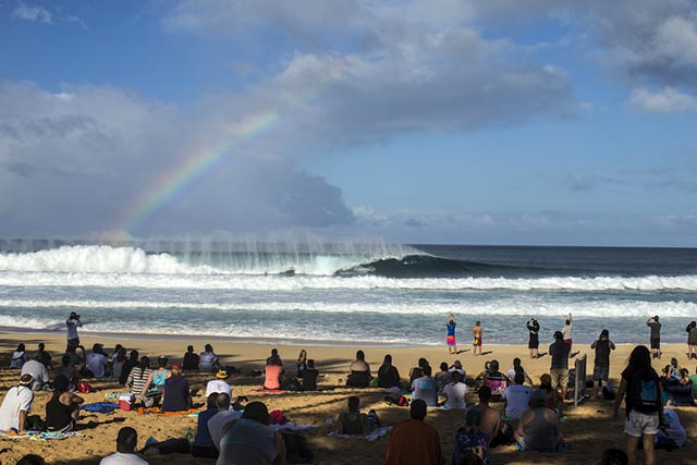 The arena at the Pipe Masters; one of the best places to watch a pro surfing contest. Photo by Brent Bielmann/Surfing magazine