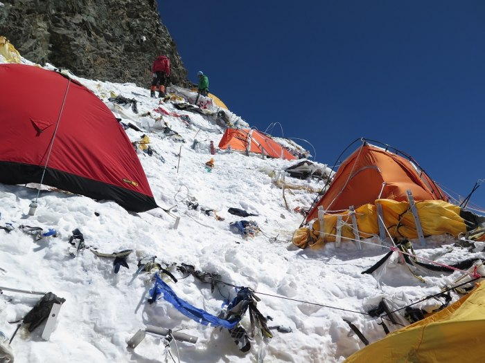 Camp II on K2 en route Radek Jaros' completion of the Crown of the Himalaya. Photo from Caters News Agency used by permission