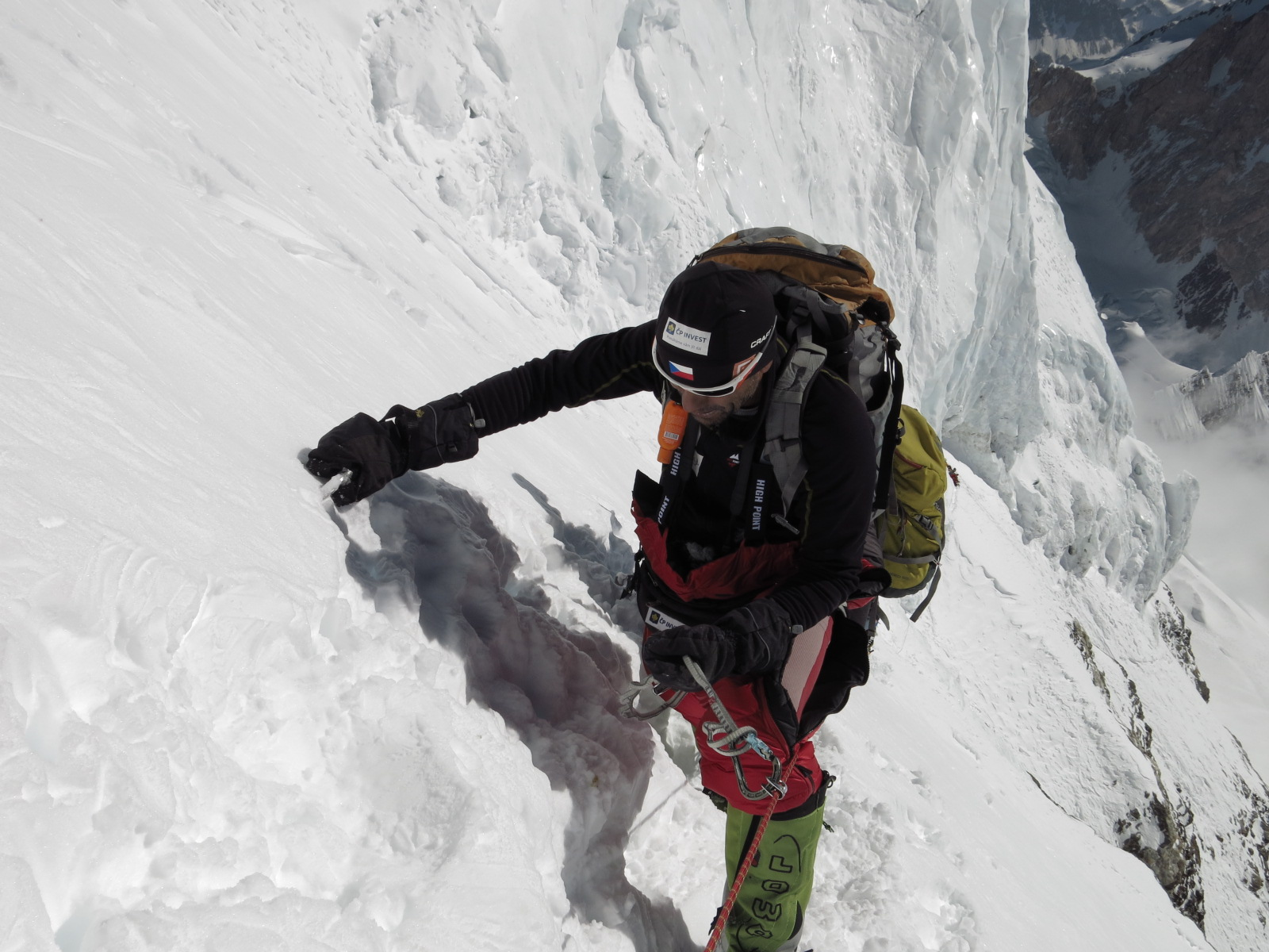 Radek Jaros nearing top of K2 where he earned his Crown of the Himalaya. Photo from Caters News Agency used by permission