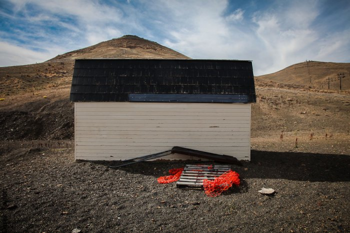 A rescue sled sits by a shed at the Elko SnoBowl. SnoBowl is operated entirely by volunteers. Photo: Derek Taylor