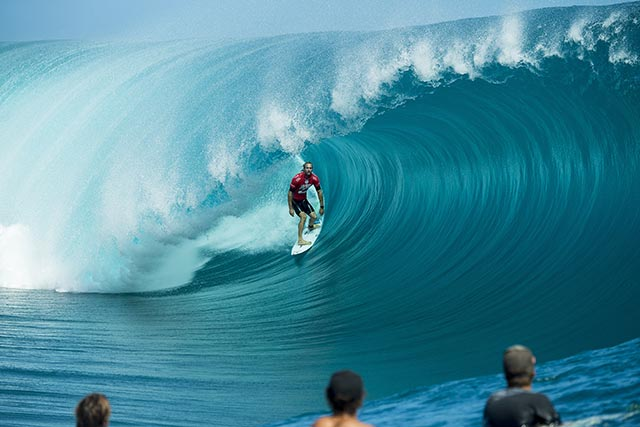 """Australian pro surfer Owen Wright (who is 6'4"""") stands tall on day 1 of the Billabong Pro Tahiti. Photo courtesy ASP."""