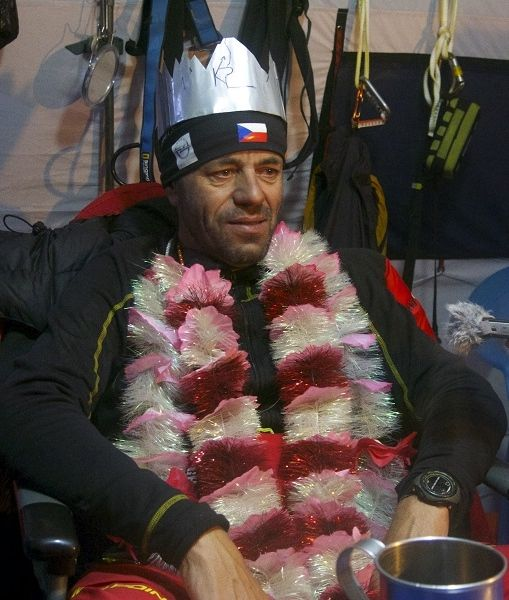 Upon returning to base camp on K2, Radek Jaros was given Crown of Himalaya. Photo from Caters News Agency used by permission