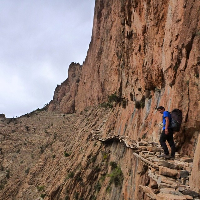 World's most dangerous hiking trails: Taghia, Morocco. Famed solo climber Alex Honnold braves tenuous trail.