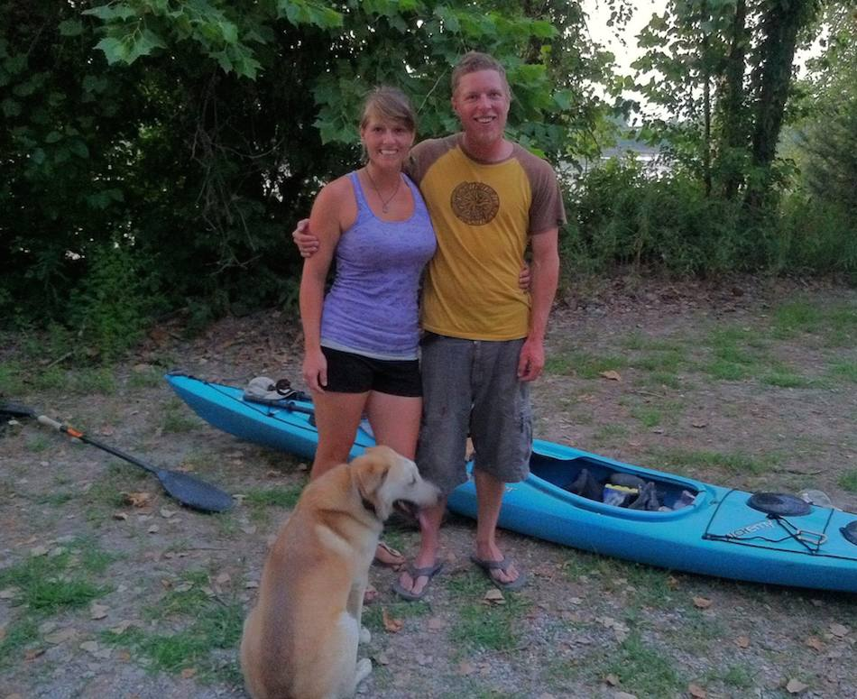 Gamache, pictured with his girlfriend Amanda, who ran support for this source-to-sea expedition, with Reggie the dog. Photo by Robin-Connie Kalthoff