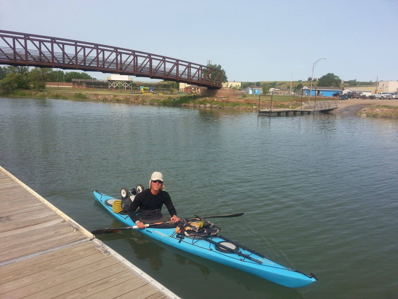 Gamache in Pierre, S.D., at the confluence of the Bad River and Missouri below Oahe Dam. Photo by Amanda Buzick.
