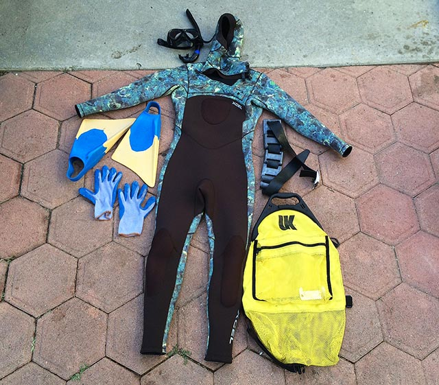 The various gear you'll need to hunt California Spiny Lobster; photo Justin Coté