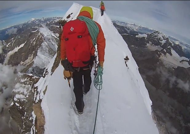 Video shows Joshua Pennell nearing the peak of the Matterhorn. Photo is a screen grab from his video